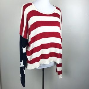 Brandy Melville Red White Blue Striped Sweater OS